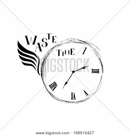 Waste time sign concept. Doodle retro watch dial with wing damaged numbers