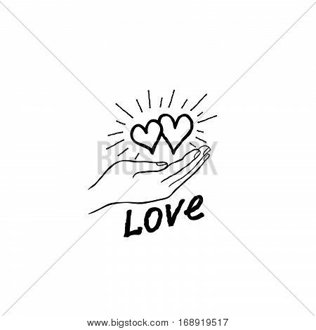 Two Heart In Love In Your Hand. Strong Family Icon. Save Love Concept