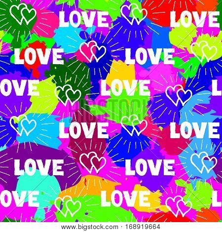 Love Hearts Seamless Pattern. Doodle Ornamental Hand Drawn Background With Beams And Handwritten Let