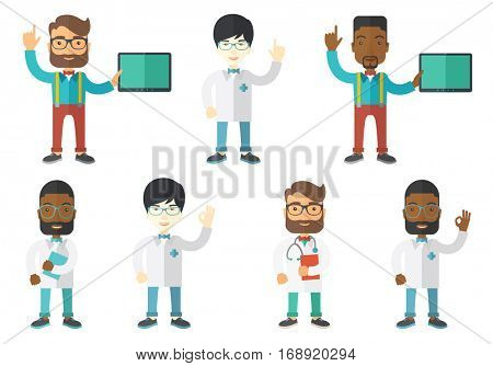 Friendly doctor in medical gown showing finger up. Young male doctor with finger up. Man in doctor uniform pointing finger up. Set of vector flat design illustrations isolated on white background.