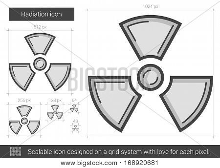 Radiation vector line icon isolated on white background. Radiation line icon for infographic, website or app. Scalable icon designed on a grid system.