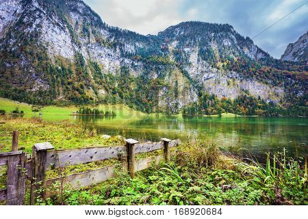 Pretty lake Konigssee. Berchtesgaden in Germany. Picture taken from on board tourist boats. The concept of ecotourism