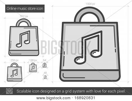 Online music store vector line icon isolated on white background. Online music store line icon for infographic, website or app. Scalable icon designed on a grid system.