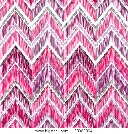 Abstract Zig Zag Geometric Tiled Pattern. Fabric Doodle Line Ornament. Linear Texture. Seamless Orna
