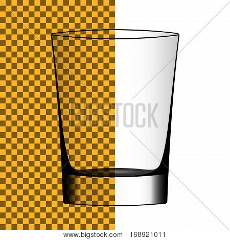 Vector transparent realistic shot. Isolated silhouette of shot glass.
