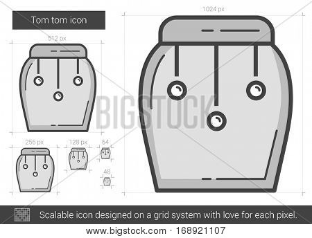 Tom tom vector line icon isolated on white background. Scalable icon designed on a grid system.
