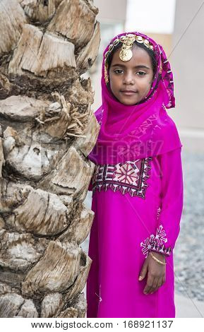 Muscat Oman February 4th 2017: omani girl in traditional outfit