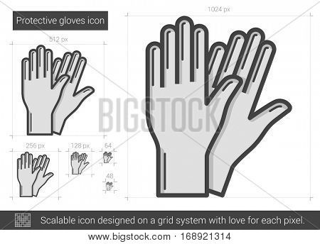 Protective gloves vector line icon isolated on white background. Protective gloves line icon for infographic, website or app. Scalable icon designed on a grid system.