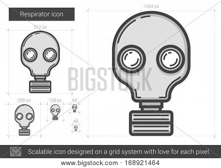 Respirator vector line icon isolated on white background. Respirator line icon for infographic, website or app. Scalable icon designed on a grid system.