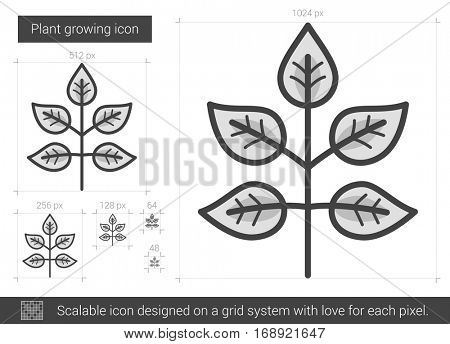 Plant growing vector line icon isolated on white background. Plant growing line icon for infographic, website or app. Scalable icon designed on a grid system.