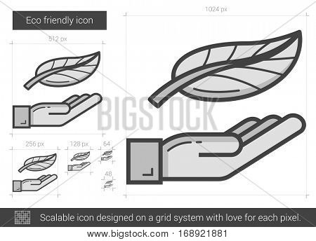 Eco friendly vector line icon isolated on white background. Eco friendly line icon for infographic, website or app. Scalable icon designed on a grid system.