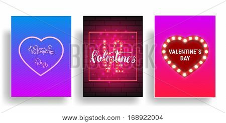 Valentines Day party poster with shiny lights, heart petals and calligraphy