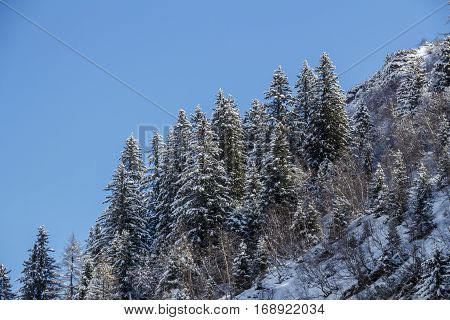 Snowy mountainside at the Hintertuxer Glacier (Tuxer Ferner Glacier) in Tyrol Austria