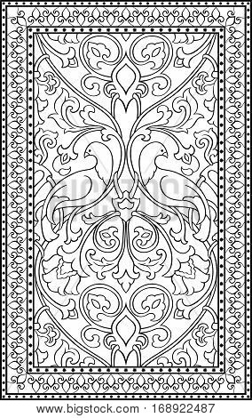 Black and white floral pattern. Filigree ornament. Stylized template for textile shawl tile carpet and any surface. Background with birds and flower.