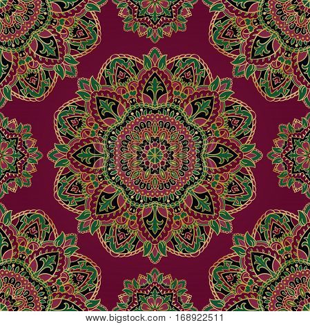 Colorful oriental ornament of mandalas. You can use this pattern for the shawl carpet cover textile and other surfaces.