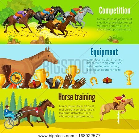 Cartoon equestrian horizontal banners with horserace awards equipment and repetition before competition vector illustration