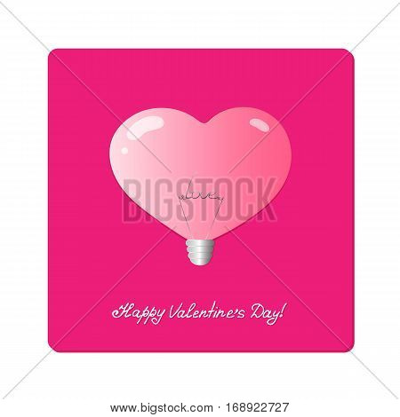 Electric light bulb in shape of heart. Realistic pink lamp with the word love inside. Greeting Card Valentine's Day. Concept design for store fixtures