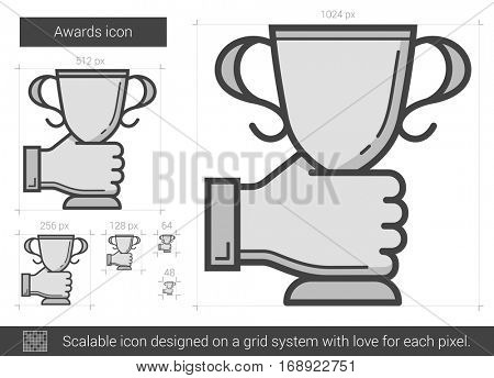 Awards vector line icon isolated on white background. Awards line icon for infographic, website or app. Scalable icon designed on a grid system.
