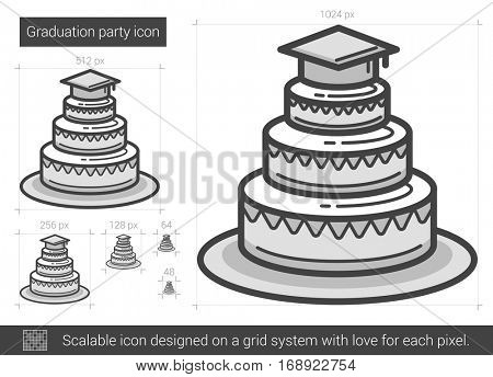 Graduation party vector line icon isolated on white background. Graduation party line icon for infographic, website or app. Scalable icon designed on a grid system.