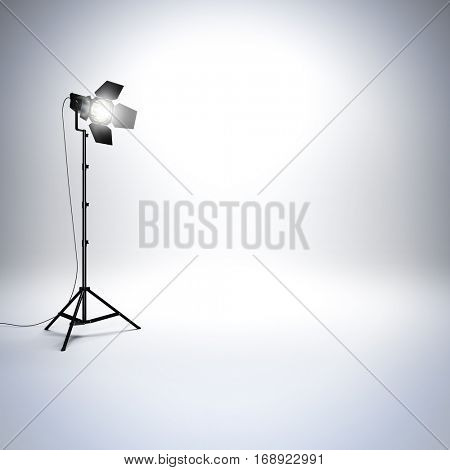 A 3d render illustration of white empty photo studio with professional flashlight. Free space empty to place your object, text or logo.