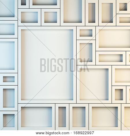 Blank template layout mockup of empty white frames. 3d render illustration. Copy space to place your photo, picture or logo.