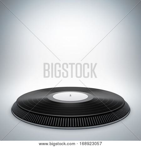 Mockup of blank template layout of vinyl music stage. 3d render illustration. Scene is empty to place your text, logo or object.
