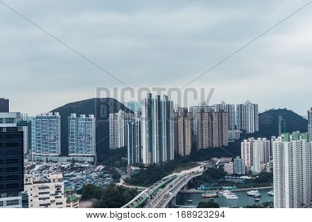 Residential District In Aberdeen And Ap Lei Chau Of Hong Kong