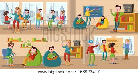 Coworking center horizontal banners with talking and discussing people sharing working environment vector illustration