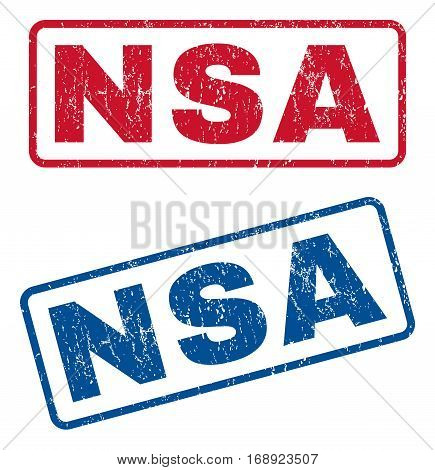 NSA text rubber seal stamp watermarks. Vector style is blue and red ink tag inside rounded rectangular banner. Grunge design and scratched texture. Blue and red signs.