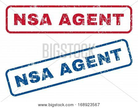 NSA Agent text rubber seal stamp watermarks. Vector style is blue and red ink caption inside rounded rectangular banner. Grunge design and unclean texture. Blue and red stickers.