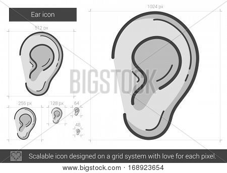 Ear vector line icon isolated on white background. Ear line icon for infographic, website or app. Scalable icon designed on a grid system.