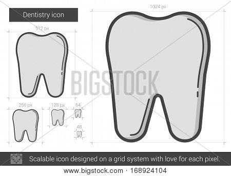 Dentistry vector line icon isolated on white background. Dentistry line icon for infographic, website or app. Scalable icon designed on a grid system.