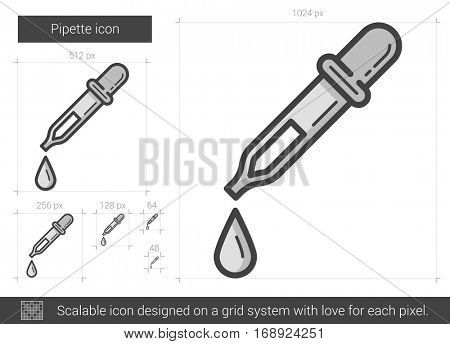 Pipette vector line icon isolated on white background. Pipette line icon for infographic, website or app. Scalable icon designed on a grid system.