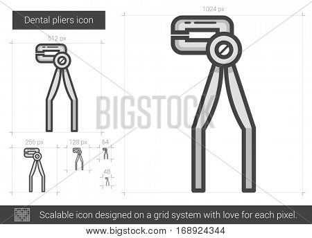Dental pliers vector line icon isolated on white background. Dental pliers line icon for infographic, website or app. Scalable icon designed on a grid system.
