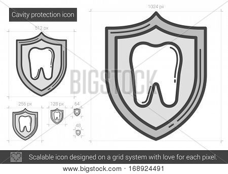 Cavity protection vector line icon isolated on white background. Cavity protection line icon for infographic, website or app. Scalable icon designed on a grid system.