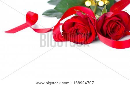 Valentine. Valentines Rose Flower with Ribbon isolated on white Background. Red Valentine's Day Border Art Design with couple of beautiful roses.