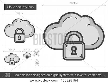 Cloud security vector line icon isolated on white background. Cloud security line icon for infographic, website or app. Scalable icon designed on a grid system.
