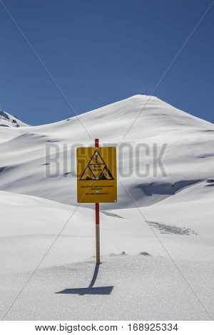 Warning sign indicating the ski area boundary of a at the Hintertuxer Glacier (Tuxer Ferner) in Tyrol Austria