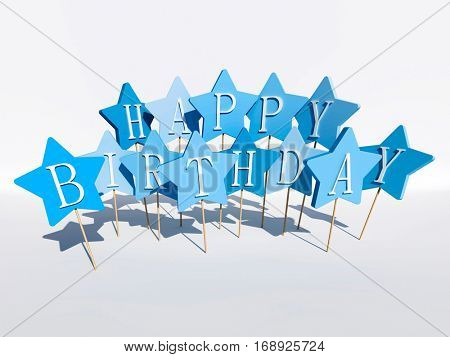3D Rendering of the message happy birthday written in blue stars in cake candle style