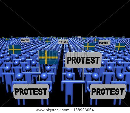Crowd of people with protest signs and Swedish flags 3d illustration