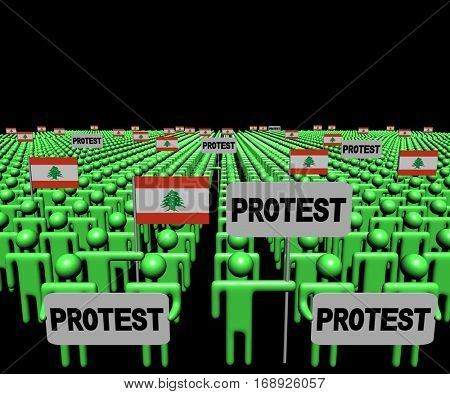 Crowd of people with protest signs and Lebanese flags 3d illustration