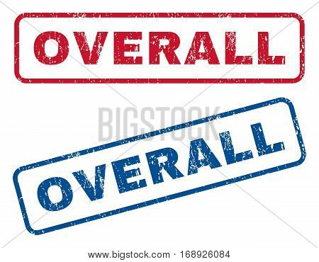 Overall text rubber seal stamp watermarks. Vector style is blue and red ink tag inside rounded rectangular shape. Grunge design and unclean texture. Blue and red emblems.