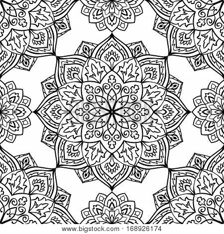 Seamless vector background. The pattern with contour filigree mandalas. Oriental black and white ornament. Template for carpet shawl textile.
