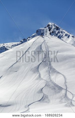 People standing offside on a mountain with powder snow and traces of skiers and snowboarders in the ski region of the Hintertuxer Glacier (Tuxer Ferner) in Tyrol Austria