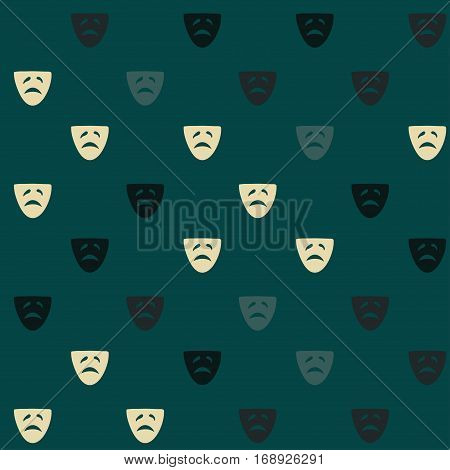 Vector hand drawn cartoon seamless pattern with drama mask. Cinema theater theme. Colored drama pattern for paper textile polygraphy game web design
