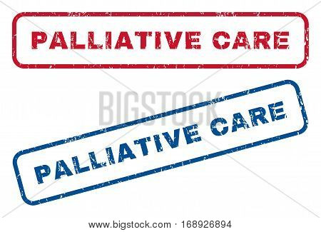 Palliative Care text rubber seal stamp watermarks. Vector style is blue and red ink caption inside rounded rectangular banner. Grunge design and dust texture. Blue and red signs.