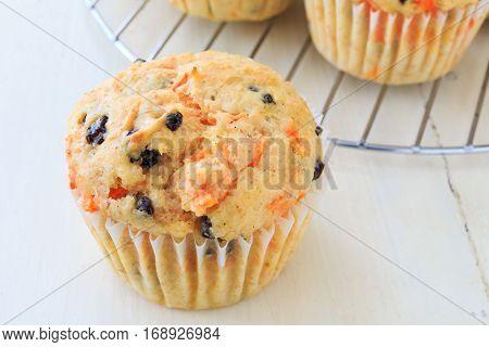 Homemade carrot raisin muffins.
