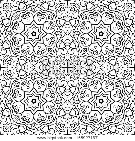 Abstract vector pattern. Oriental black and white ornament. Template for carpet shawl tile textile.