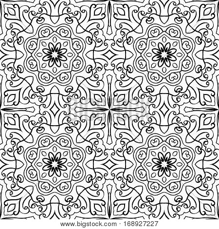 Filigree vector pattern. Oriental black and white ornament. Abstract template for carpet shawl tile textile.