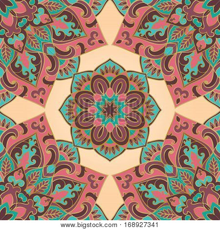 Seamless pattern of mandala on a beige background. Colorful oriental ornament. Template for carpet shawl wallpaper embroidery textile.